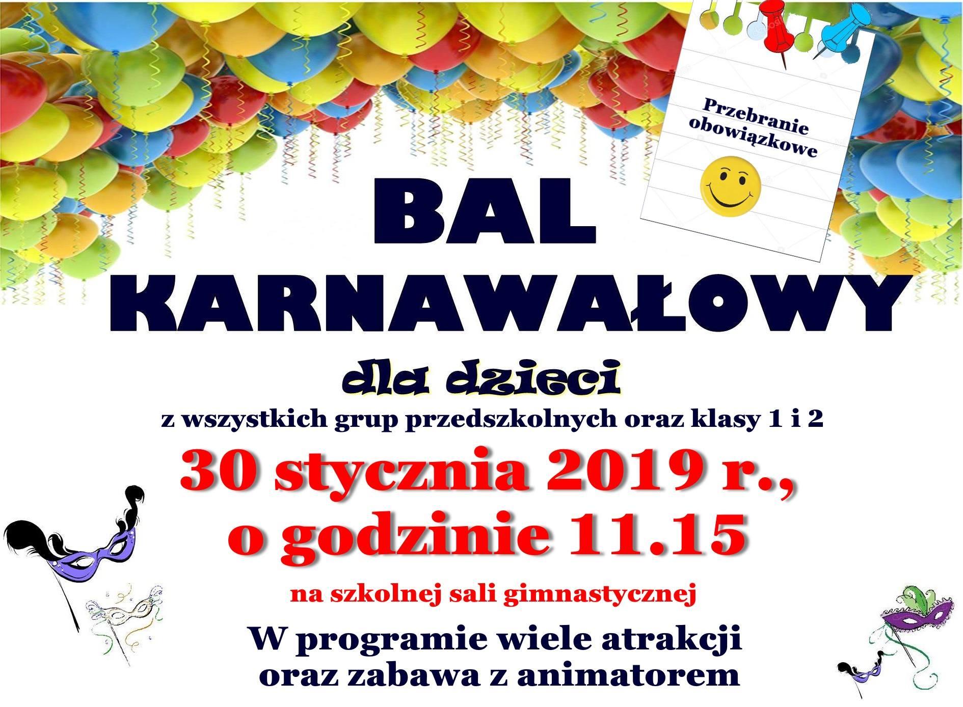 Zaproszenie Na Bal Karnawałowy Zespół Szkolno Przedszkolny Nr 4